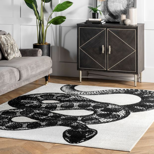 Simple Serpent Black And White Rug