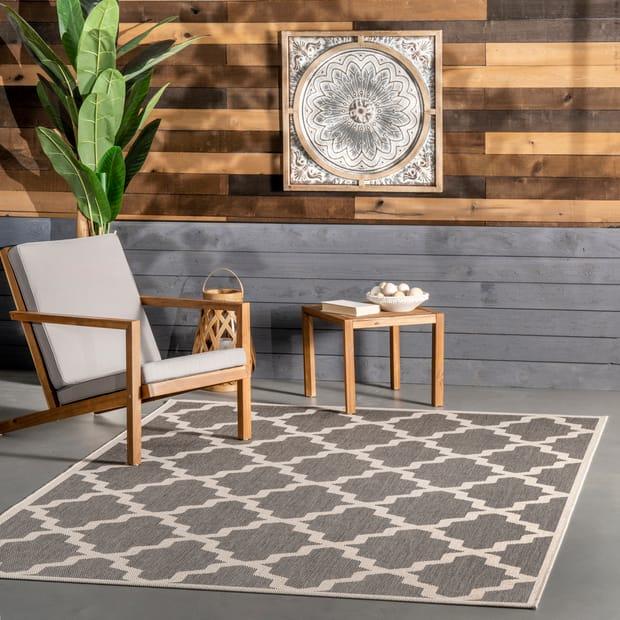 Indoor Outdoor Moroccan Trellis Gray Rug, Outdoor Trellis Rug