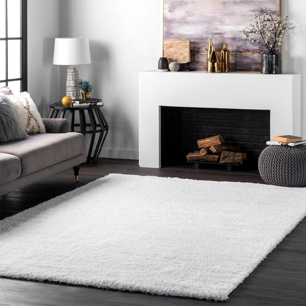 Cloudy Solid Snow White Rug, White Living Room Rug