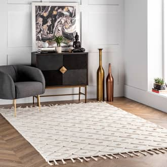 Ivory Waffell Diamond Textured Trellis Tassel rug - Casuals Rectangle 10' x 13' at RugsBySize.com