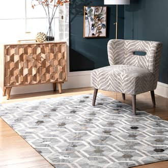 Gray Mandovi Leather Honeycomb Trellis rug - Casuals Rectangle 7' 6in x 9' 6in at RugsBySize.com