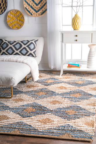Off White Boardwalk Hand Braided Denim And Jute Striped Diamonds rug - Natural Fibers Rectangle 10' x 14' at RugsBySize.com