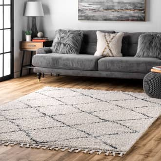 Off White Temara Moroccan Lattice Tassel rug - Contemporary Rectangle 12' x 18' Product Image