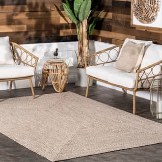 Tan Jubilee Solid Braided Indoor/Outdoor rug - Casuals Rectangle 12' x 15' Product Image