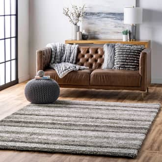 Gray Multi Keno Striped Shaggy rug - Shags Rectangle 12' x 15' Product Image