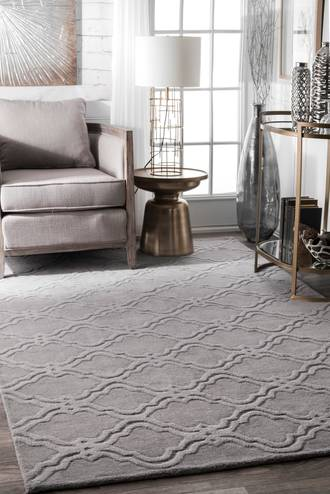 "Gray Tuscan Double Carved Trellis rug - Contemporary Rectangle 9' 6"" x 13' 6"" Product Image"