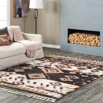 Gray Hearthside Moroccan Diamond Shag With Tassels rug - Shags Rectangle 11' x 15' Product Image