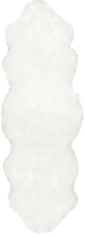 Downy Soft Solid Faux Sheepskin Ivory Rug
