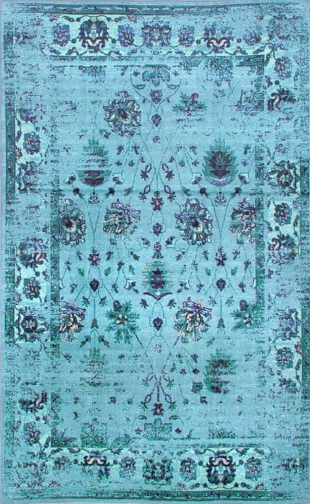 Turquoise Printed Persian Overdyed Vintage Ashlina Area Rug