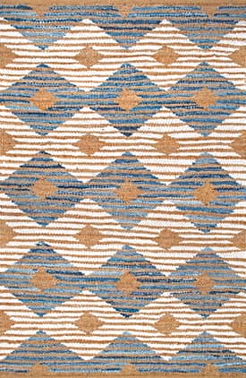 Rugs USA DR02 Hand Braided Denim And Jute Striped Diamonds