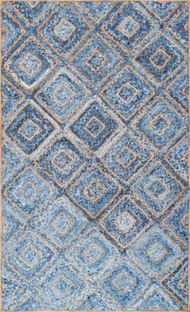 Rugs USA DR03 Hand Braided Jute Diamonds On Denim