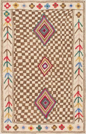 Rugs USA Checkered Tribal Border Hand Made Woolen AH03
