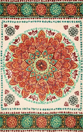 Rugs USA TB02 Printed Floral Tribal Rosette