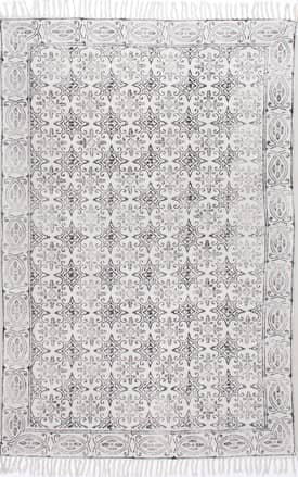 Rugs USA CH03 Block Printed Cotton Flatweave Trellis Border