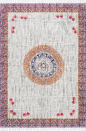 Rugs USA CH10 Flatweave Cotton Central Floral Token