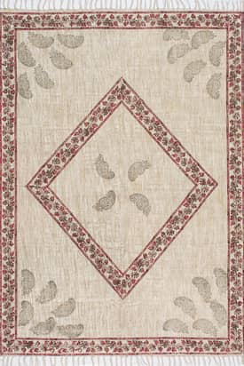 Rugs USA CH12 Flatweave Cotton Floral Diamond Frame