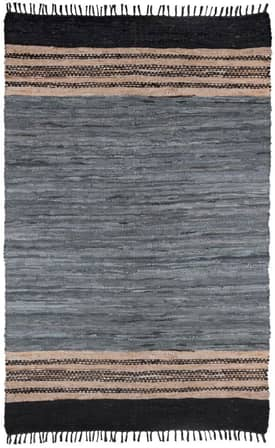 St. Croix Trading Gray Leather Woven Reversible Rug LCD06