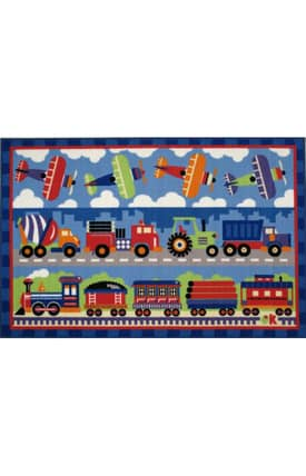 Fun Rugs Olive Trains, Planes, & Trucks Rug