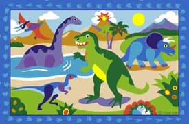 Fun Rugs Olive Dinosaur World Rug