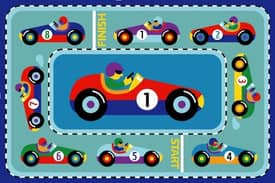Fun Rugs Olive Race Cars Rug