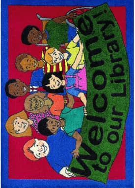 Joy Carpets Educational Welcome To Our Library Rug