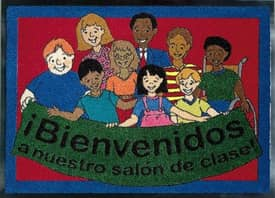 Joy Carpets Kid Essentials Welcome to Our Classroom Mat (Spanish) Rug