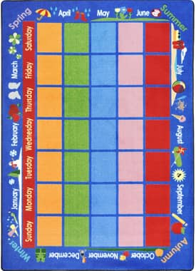 Joy Carpets Educational Celebrations Calendar Rug