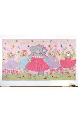 Peking Handicraft, Inc. Kelly Rightsell Little Girls Dance & Twirl Rug