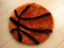 Bowron Kids Fun Rug Basketball Sheepskin Rug