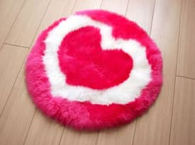 Bowron Kids Fun Rug Heart Sheepskin Rug