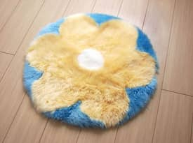 Bowron Kids Fun Rug Flower Sheepskin Rug