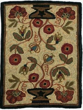 Homespice Decor Hooked Rugs Potted flower Rug