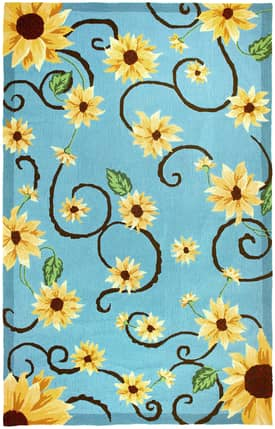 Homefires Rugs Homefires Audrey Jean Roberts Sunflowers On Blue Rug