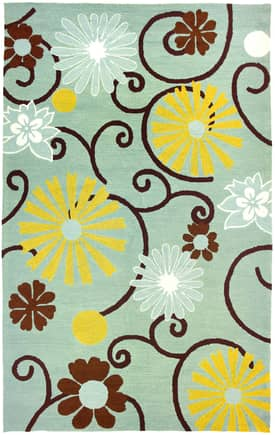 Homefires Rugs Homefires Audrey Jean Roberts Daisies On Spa Blue Rug