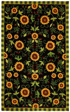 Homefires Rugs Jennifer Brinley Sunflowers On Black Rug