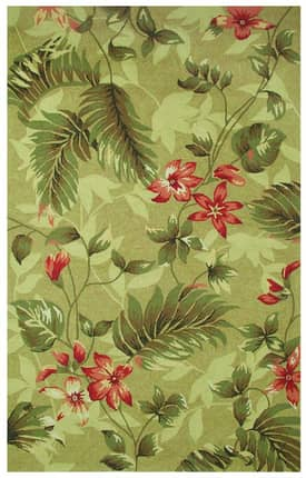 Classic Home Outdoor Hooked Outdoor Tropical Leaves Rug
