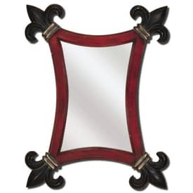 Paragon Hand Painted Red Black Fleur De Lis Mirror