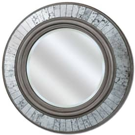 Paragon Contemporary Round Silver Sparkle Wall Mirror