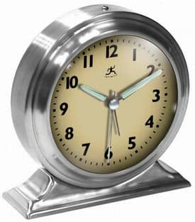 Infinity Instruments Alarm Clocks Brushed Nickel Metal Alarm Clock Cream Face