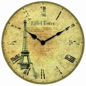 Infinity Instruments Traditional Eiffel Tower Wall Clock