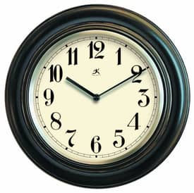 Infinity Instruments Country Wood Wall Clock with Metal Bezel in Antique Lacquer Finish