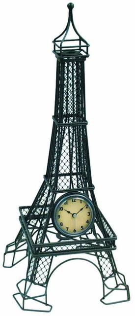 Infinity Instruments Wrought Iron Metal Wire Eiffel Tower table Clock