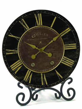 Infinity Instruments Traditional Black & Gold Table Clock