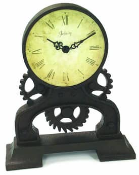 Infinity Instruments Rusty Gears Rusty Gears Resin Table Clock