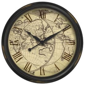 Infinity Instruments Traditional Distressed Map Wall Clock