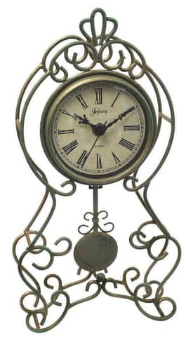 Infinity Instruments Wrought Iron Green and Gold Pendulum Clock