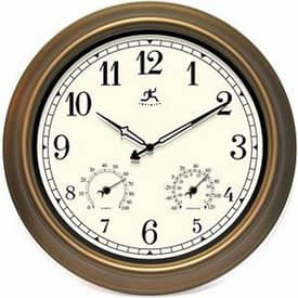 Infinity Instruments In/Outdoor The Craftsman Wall Clock with Gold Finish