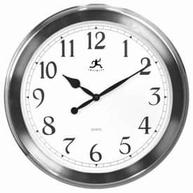 Infinity Instruments Contemporary Faux Brushed Nickel Finish Wall Clock