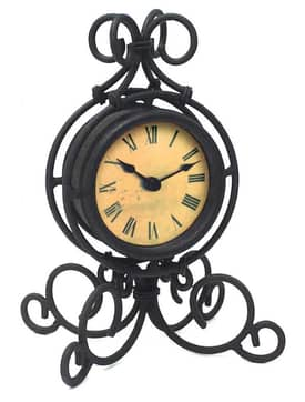 Infinity Instruments Wrought Iron Black Wrought Iron Table Clock