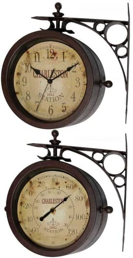 "Infinity Instruments Indoor & Outdoor Two Sided ""Charleston"" Clock Thermometer"